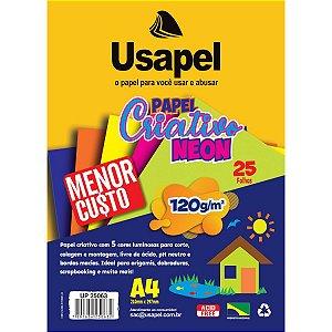 Bloco Para Educação Artística Usapel Neon 5Cor. A4 120G 25Fl Filiperson