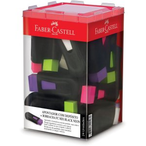 Borracha Colorida Fc Mix Black Neon C/apontador Faber-Castell