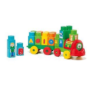 Brinquedo Educativo Trenzinho Baby Land 28 Blocos Cardoso Toys