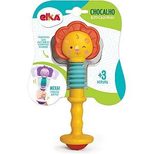 Brinquedo Para Bebê Leao Chocalho Esticadinho Elka