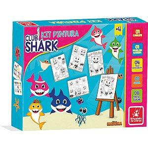 Brinquedo Para Colorir Club Shark C/04 Telas Brinc. De Crianca