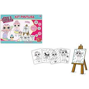 Brinquedo Para Colorir Doll C/04 Telas/guache/cavalet Brinc. De Crianca