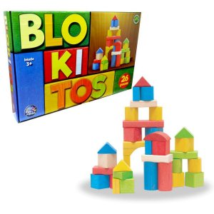 Brinquedo Para Montar Blokitos De Madeira 26 Pecas Pais E Filhos