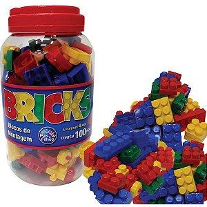 Brinquedo Para Montar Bricks Blocos Montagem 100Peca Pais E Filhos