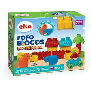 Brinquedo Para Montar Fofo Blocos Fazendinha 25Pcs Elka