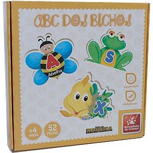 Brinquedo Pedagógico Madeira Abc Dos Bichos 52 Pcs Brinc. De Crianca