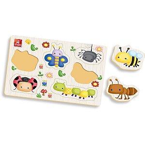 Brinquedo Pedagógico Madeira Ache Encaixe Insetos Brinc. De Crianca