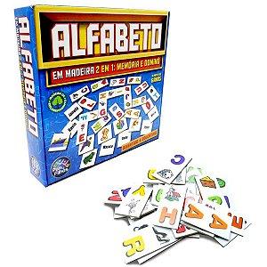 Brinquedo Pedagógico Madeira Alfabeto Domino E Memoria Pais E Filhos