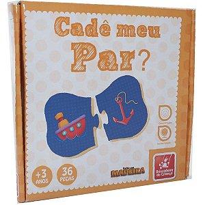 Brinquedo Pedagógico Madeira Cade Meu Par 36 Peças Brinc. De Crianca