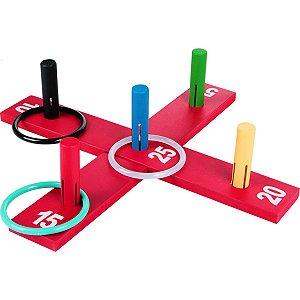 Brinquedo Pedagógico Madeira Jogo De Argola Cruz 10Pcs Carlu