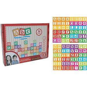 Brinquedo Pedagógico Madeira Letras/numeros/sinais 96 Pecas Brinc. De Crianca