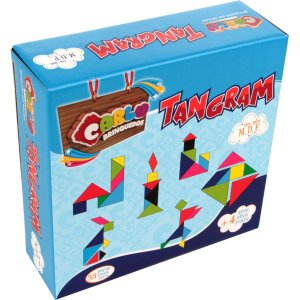 Brinquedo Pedagógico Madeira Tangram 35 Pecas Em Madeira Carlu