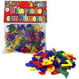 Brinquedo Pedagógico Brincando Com Numeros 56 Pcs Pais E Filhos