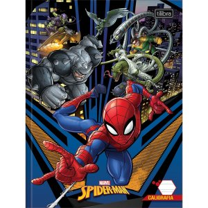 Caderno Caligrafia Capa Dura Spider-Man 40Fl Vert. Broc Tilibra