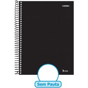Caderno Espiral 1/4 Capa Dura Neutro Preto 96F Sem Pauta Tamoio