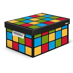 Caixa Organizadora Decorada Cubo Magico Preta Gd 43X31X24 Polibras