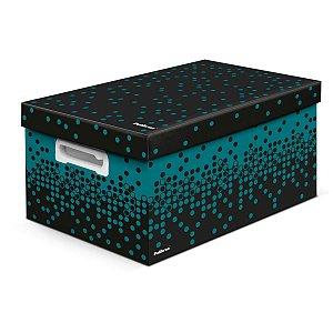 Caixa Organizadora Decorada Dots Preta C/vd Gd 43X31X24Cm Polibras