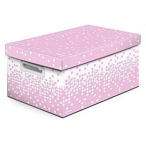 Caixa Organizadora Decorada Dots Rs Pastel Gd 43X31X24Cm Polibras