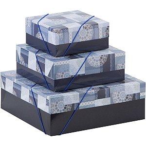 Caixa Para Presente Com Tampa Md (21X21X8) Elast. Estampada Cristina