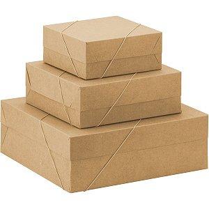 Caixa Para Presente Com Tampa Md (21X21X8) Elast. Kraft Cristina