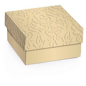 Caixa Para Presente Com Tampa Mini C/relevo Ouro G 12Cm. Cromus