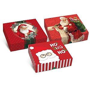 Caixa Para Presente Com Tampa Natal Tamp/fund Ret17X13,5X4,5 Cromus