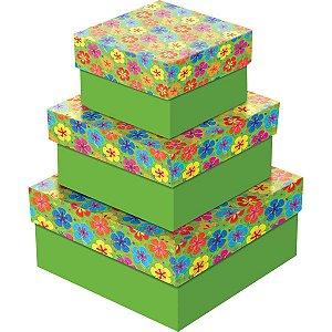 Caixa Para Presente Com Tampa Pequena (16X16X7) 4Modelos Cristina