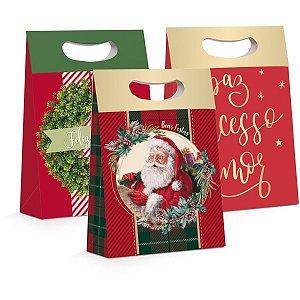 Caixa Para Presente Decorada Natal Plus Sort. P 18X7,5X25 Cromus