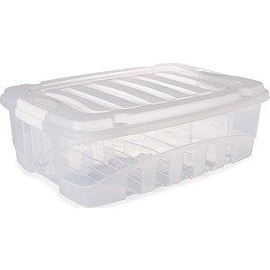 Caixa Plástica Multiuso Grand Box Baixa Incolor 26,5L Plasutil