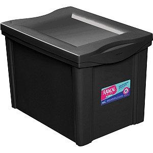 Caixa Plástica Multiuso Medio Preto 30L Organizador Ordene