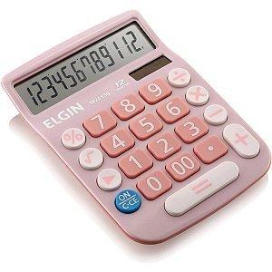 Calculadora De Mesa 12Dig.visor Lcd Solar/bat Rosa Elgin