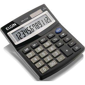 Calculadora De Mesa 12Digitos Solar/bateria Preta Elgin
