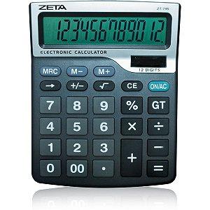 Calculadora De Mesa Zeta 12Dig.visor Grd Preta Sol Procalc