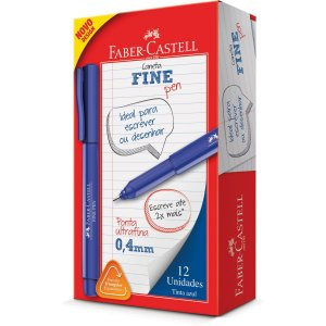 Caneta Com Ponta Porosa Fine Pen 0,4Mm Ultra Fina Azul Faber-Castell