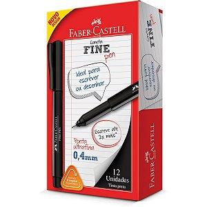 Caneta Com Ponta Porosa Fine Pen 0,4Mm Ultra Fina Pret Faber-Castell