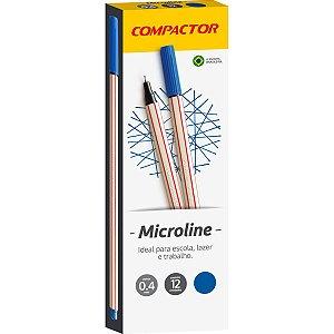 Caneta Com Ponta Porosa Microline 0,4Mm Azul Escuro Compactor