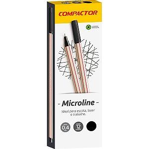 Caneta Com Ponta Porosa Microline 0,4Mm Preta Compactor