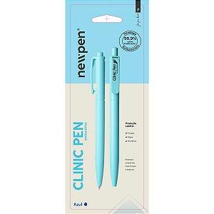 Caneta Esferográfica Clinic Pen Azul Anti Bacteria Newpen