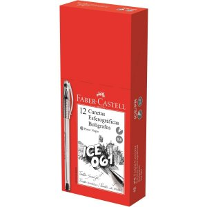 Caneta Esferográfica Ice 061 0,8Mm Preta Faber-Castell