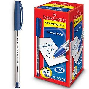 Caneta Esferográfica Trilux Ponta Média Azul Faber-Castell