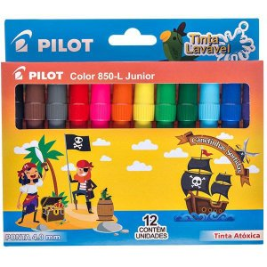Caneta Hidrografica Color 850L Junior 12 Cores Pilot