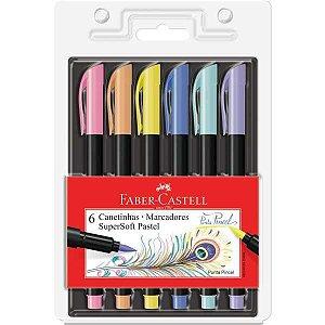 Caneta Hidrografica Supersoft 6Cores Pastel Faber-Castell