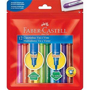 Caneta Hidrografica Vai E Vem 12 Cores Faber-Castell