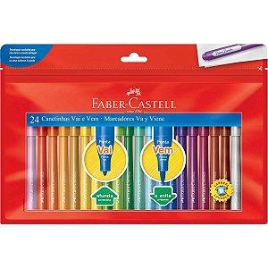 Caneta Hidrografica Vai E Vem 24 Cores Faber-Castell