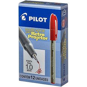 Caneta Retroprojetor 1.0Mm Marcador Vermelho Pilot