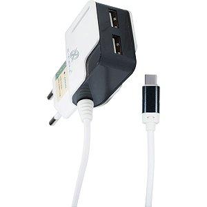 Carregador Celular De Parede Ultrarapido 3.1A C/2Ent Usb/ty Flex