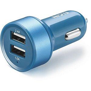 Carregador Celular Veicular Entrada 12V 2 Saida  Azul Elgin