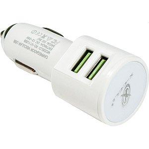 Carregador Celular Veicular Qualcomm -4.0A/36W/2 Saida Usb Flex