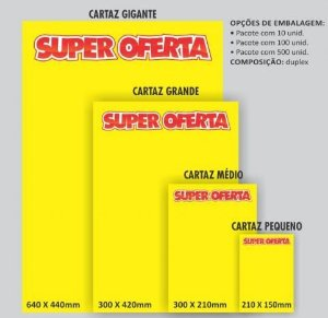 Cartaz Para Marcacao Oferta Medio 30X21Cm. Amarelo Grespan