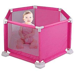 Cercado Para Bebê Rosa 1,10X93X50Cm. Braskit